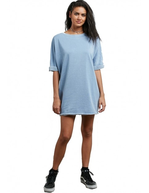 Volcom Snap It Dress in Washed Blue