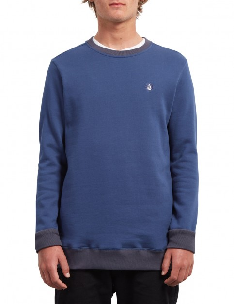 Volcom Sngl Stone Crew Sweatshirt in Matured Blue