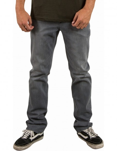 Volcom Solver Denim Straight Fit Jeans in Power Grey