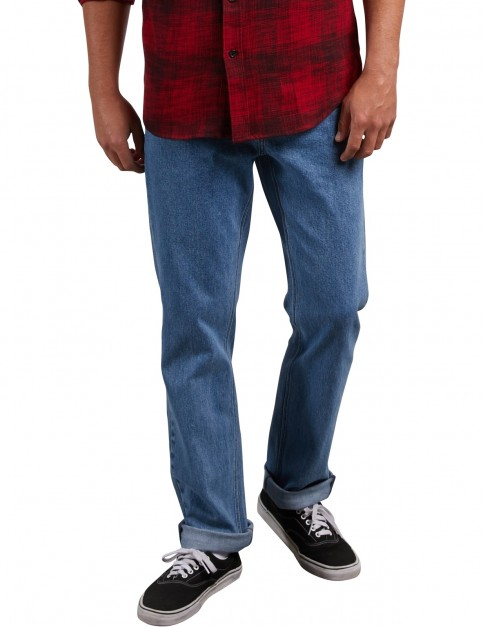 Volcom Solver Denim Straight Fit Jeans in Stone Blue