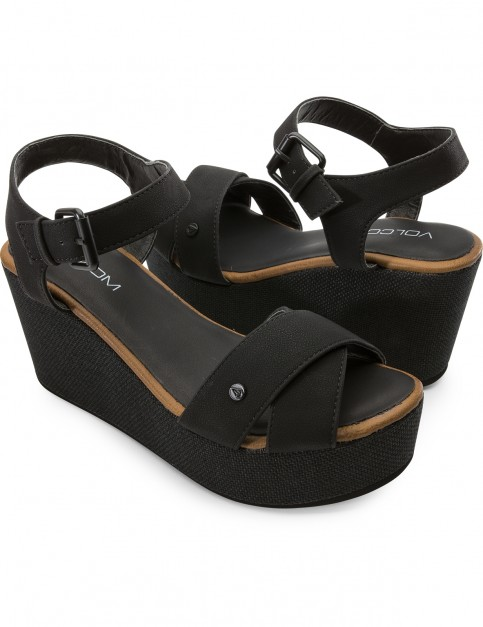 Volcom Stone Platform Wedge Sandals in Black