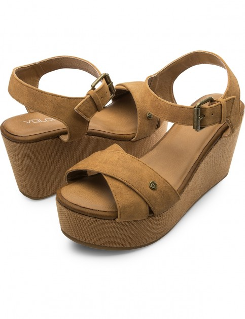 Volcom Stone Platform Wedge Sandals in Cognac