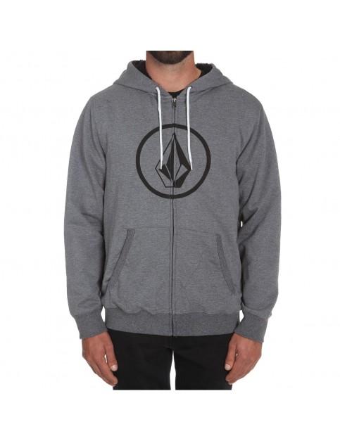 Volcom Stoned Lined Zipped Hoody in Dark Grey