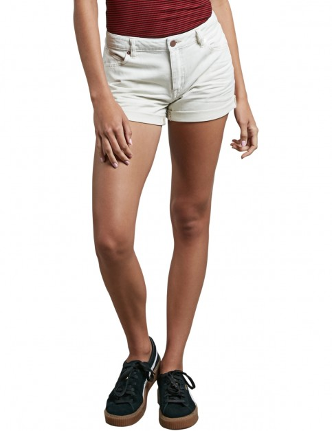 Volcom Stoned Short Rolled Denim Shorts in Vanilla Latte