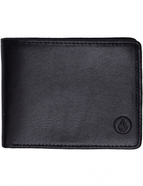 Volcom Strangler Leather Wallet in Black