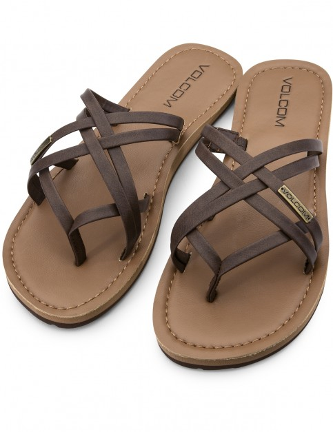 Volcom Strap Happy Flip Flops in Brown
