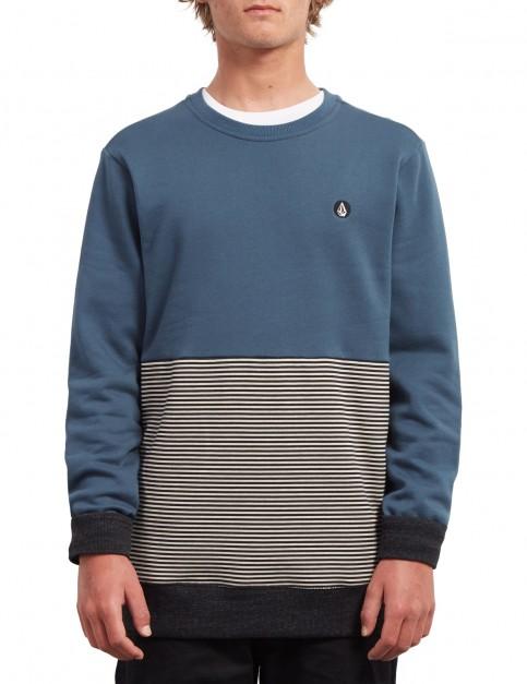 Volcom Threezy Crew Sweatshirt in Navy Green