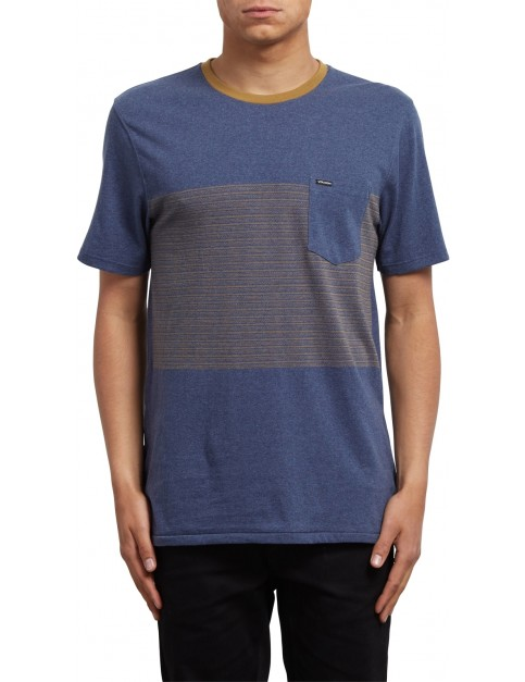 Volcom Threezy Pocket Short Sleeve Shirt in Deep Blue