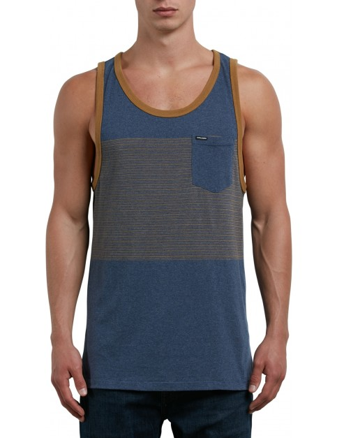 Volcom Threezy Tank Sleeveless T-Shirt in Deep Blue
