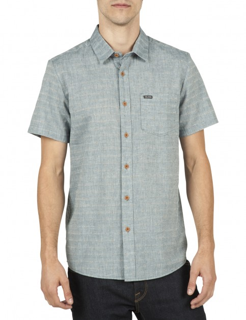 Volcom Thurston Short Sleeve Shirt in Ash Blue