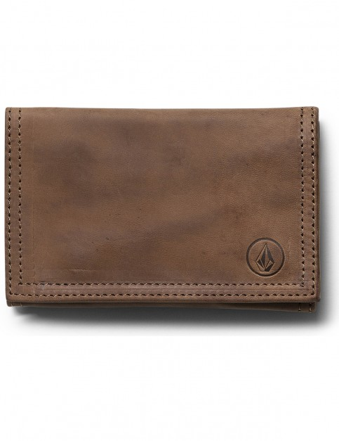 Brown Volcom Tri Fold Faux Leather Wallet
