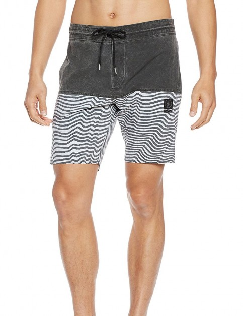 Volcom Vibes Jammer Elasticated Boardshorts in Black White