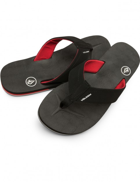 Volcom Victor Flip Flops in Black Top