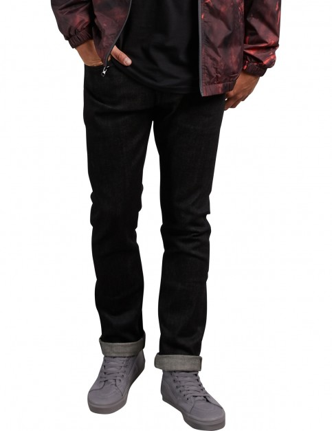 Volcom Vorta Denim Slim Fit Jeans in Black Selvedge