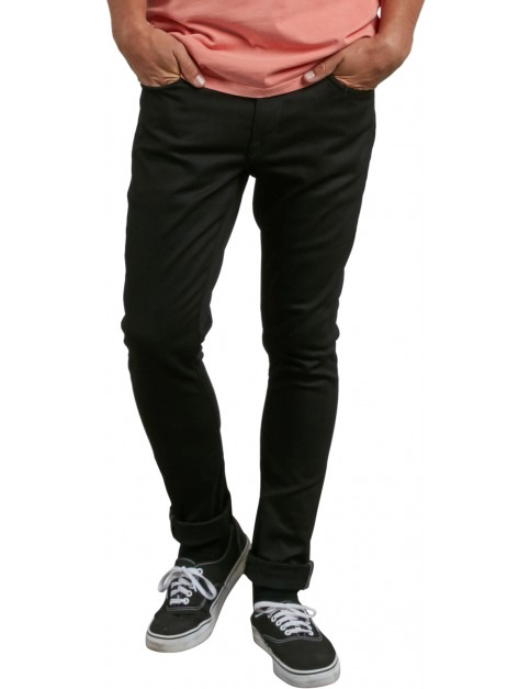 Volcom Vorta Tapered Slim Fit Jeans in Black On Black