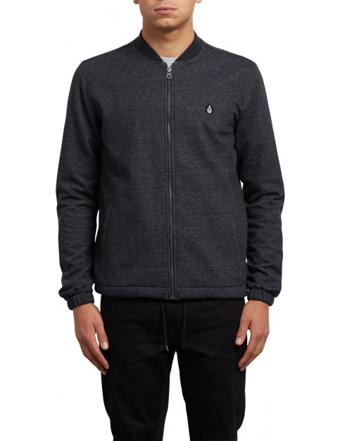 Volcom Whip Full Zip Fleece in Heather Black