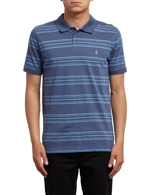 Volcom Wowzer Stripe Polo Shirt in Deep Blue