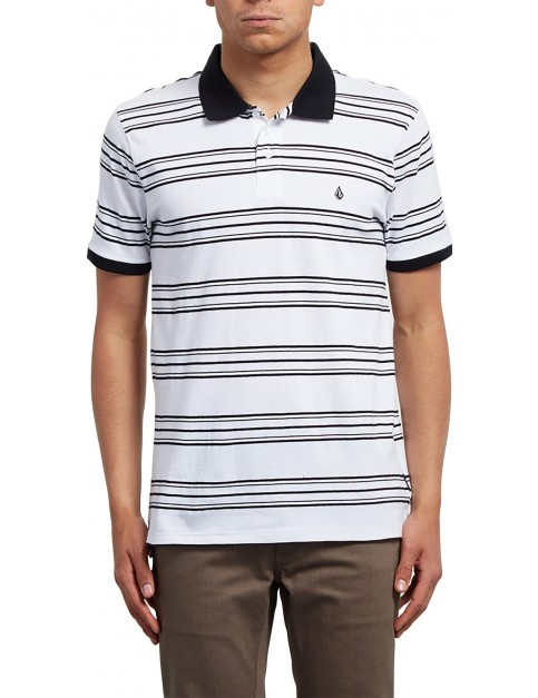 Volcom Wowzer Stripe Polo Shirt in White