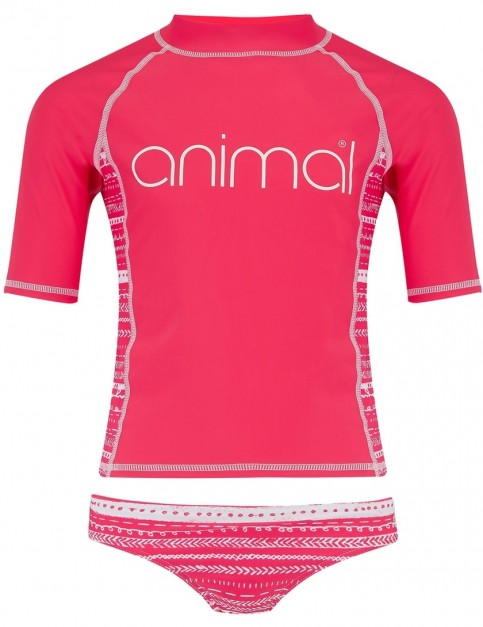 Animal Posie Short Sleeve Rash Vest in Petunia Pink