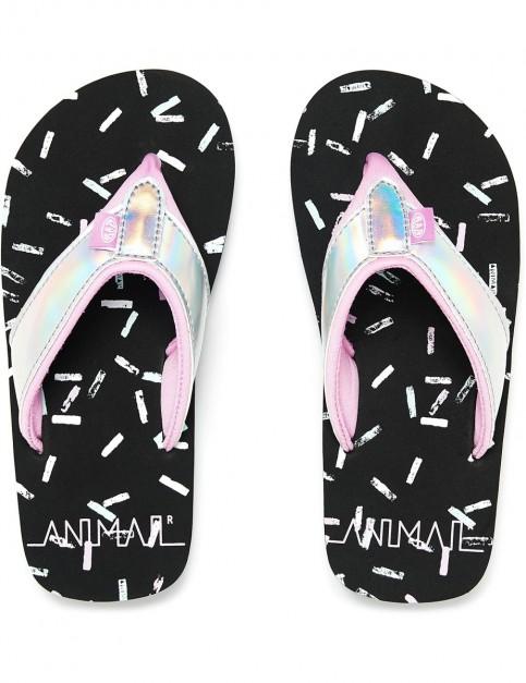 Animal Swish Glitz Flip Flops in Black