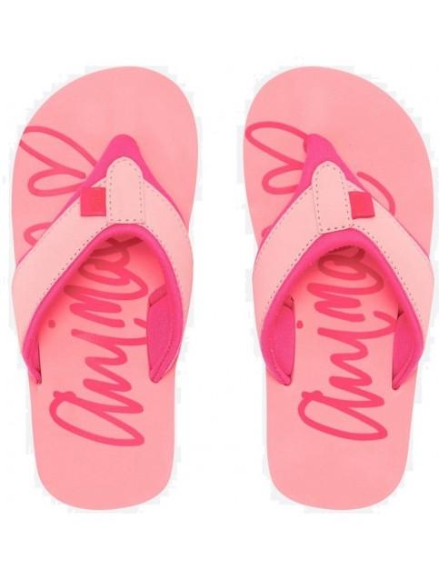 d055335b28cb Animal Swish Logo Girls Flip Flops in Sugary Pink