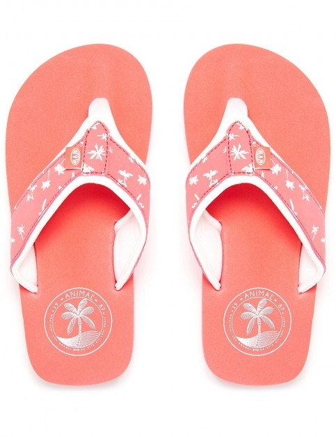Animal Swish Upper AOP Girls Flip Flops in Sunkissed Orange