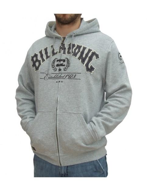Billabong Established Zipped Hoody in Grey Heather