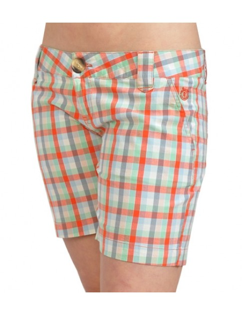 Element Eden Connect II Chino Shorts in Orange Check