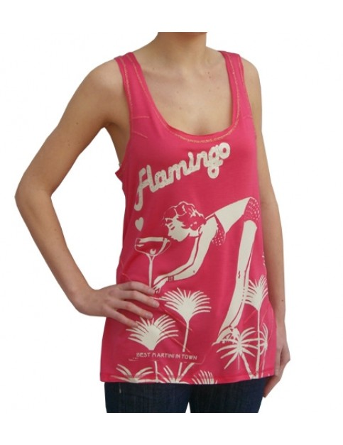Hot Tuna T-Back Sleeveless T-Shirt in Flamingo Pink
