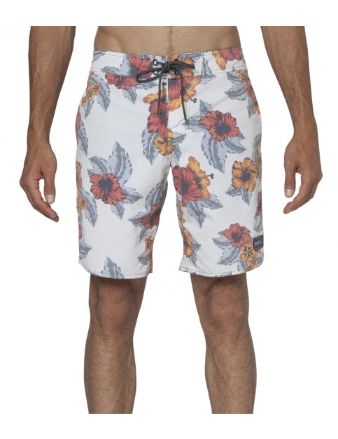 ONeill Aloha Mid Length Board Shorts in White Aop
