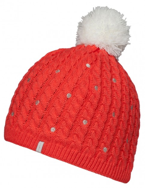 ONeill Hot Dot Bobble Hat in Lava Pink