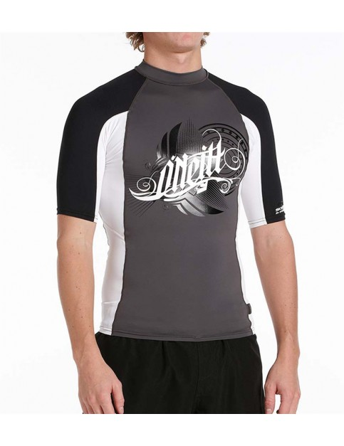 ONeill Script Logo Short Sleeve Rash Vest in Super White