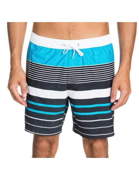 Quiksilver YG Stripe Volley Mid Length Board Shorts in Hawaiian Ocean