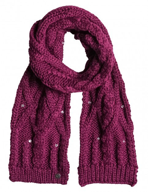Roxy Shooting Star Knitted Scarf in Magenta Purple
