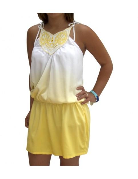 Rusty Paradiso Strappy Dress in Bright Lemon
