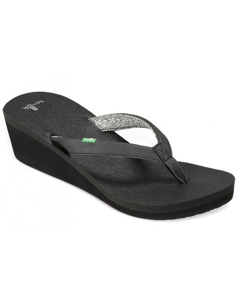 Sanuk Yoga Zen Wedge Flip Flops in Black