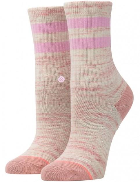 Stance Stripe Crew Girls Crew Socks in Pink