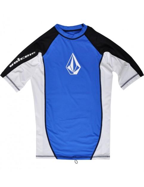 Volcom Colorblock Short Sleeve Rash Vest in Blue