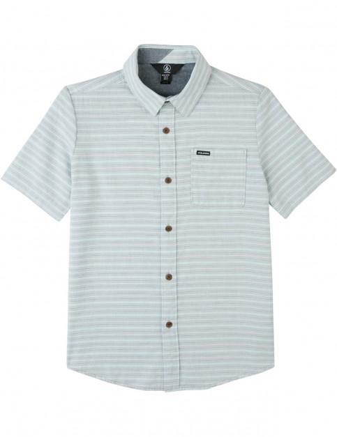 Volcom Eastport Chambray Short Sleeve Shirt in Wrecked Indigo
