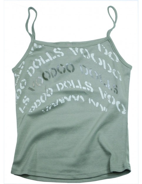 Voodoo Dolls Clash Strappy Sleeveless T-Shirt in Sage Green