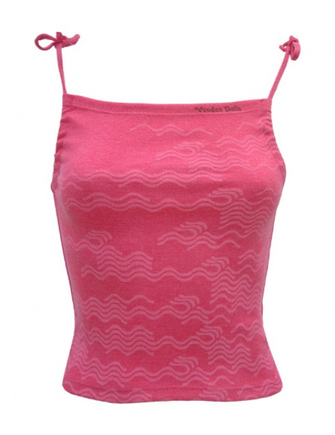 Voodoo Dolls Tahiti Strappy Sleeveless T-Shirt in Raspberry Pink